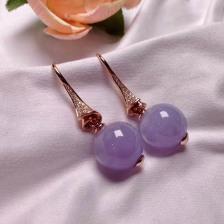 紫罗兰冰糯种翡翠耳钩
