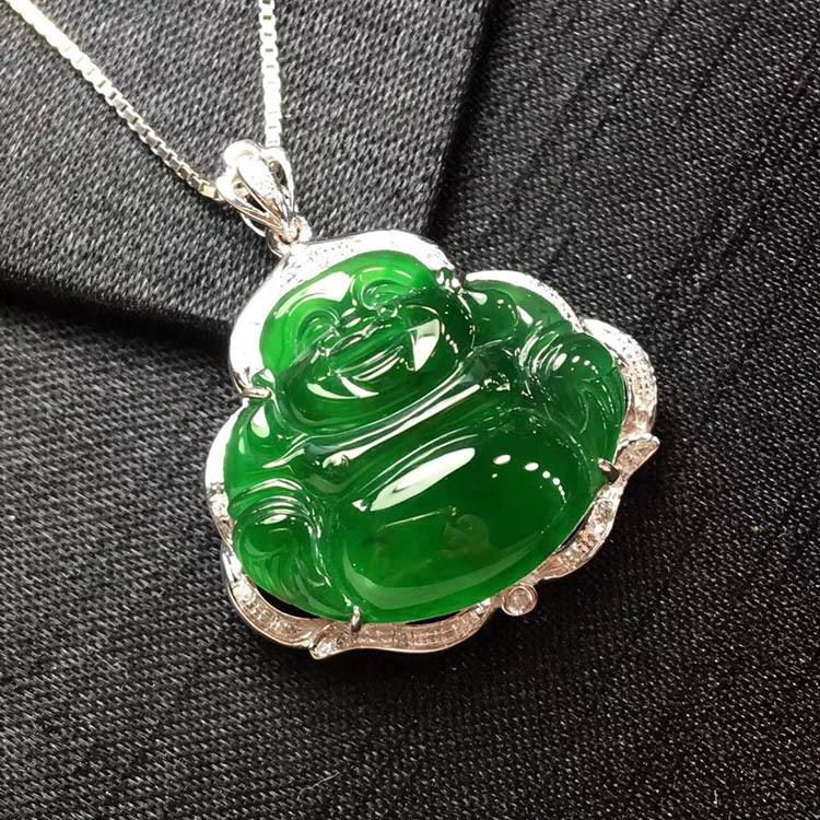 冰种阳绿笑佛翡翠吊坠
