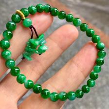 豆种满绿珠子翡翠手链