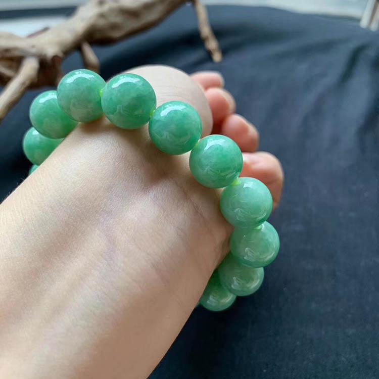 糯种满绿翡翠手链