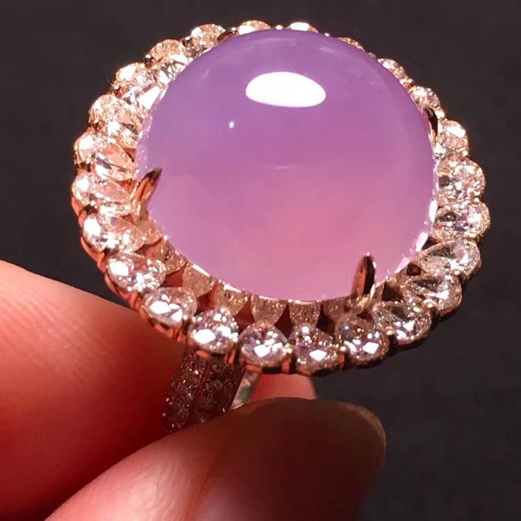 冰种粉紫蛋面翡翠戒指第6张