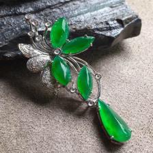 阳绿冰种花花翡翠吊坠