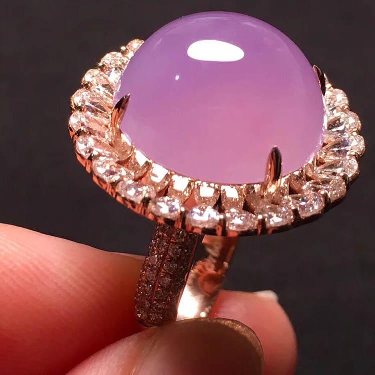 冰种粉紫蛋面翡翠戒指第7张