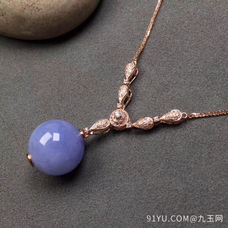 紫罗兰糯冰种翡翠珠子项链吊坠第7张