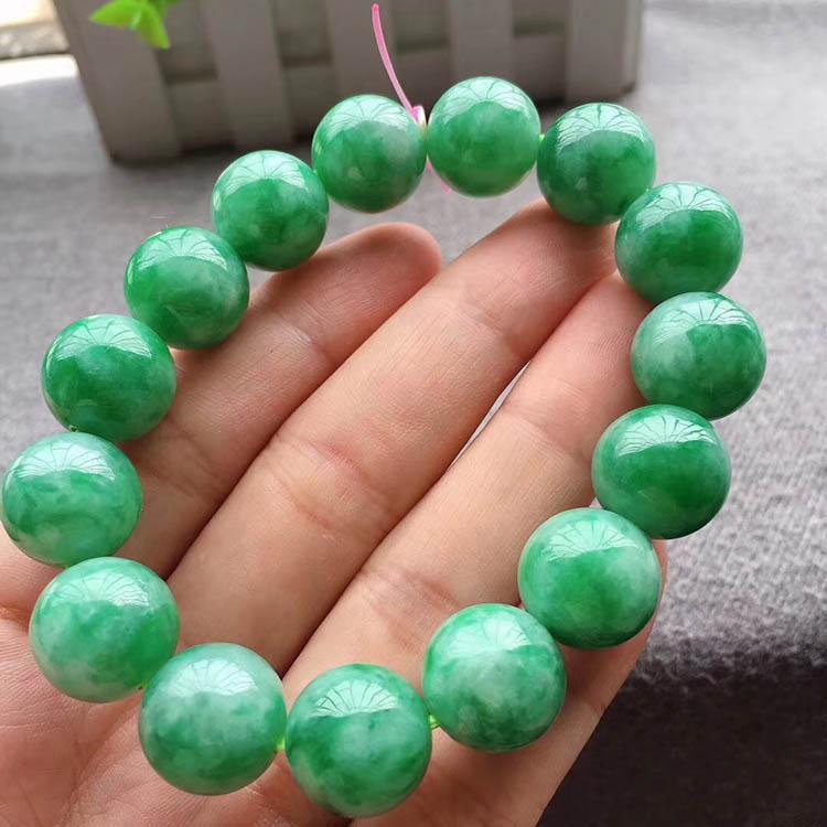 豆种满绿珠珠翡翠手链第1张