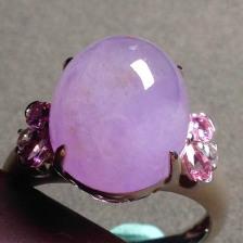 冰糯种紫罗兰蛋面翡翠戒指