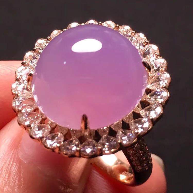 冰种粉紫蛋面翡翠戒指第2张