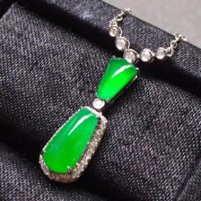 冰种正阳绿二合一翡翠项链吊坠