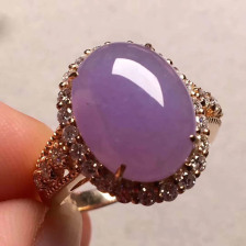 紫罗兰糯种蛋面翡翠戒指