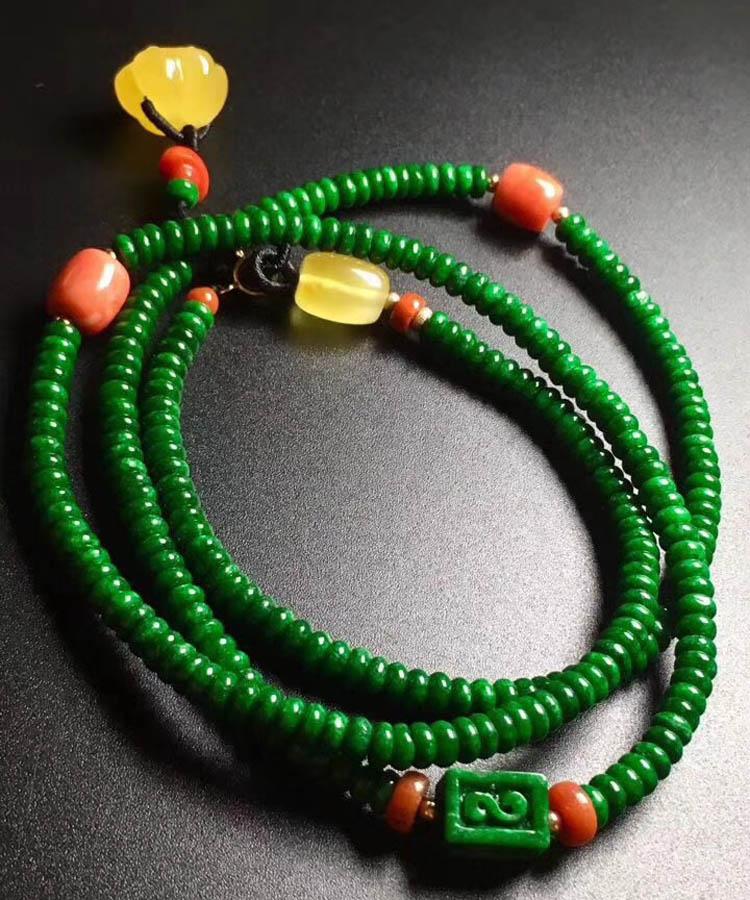 干青种辣绿珠珠翡翠项链
