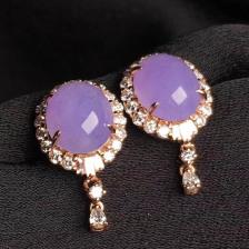 冰种紫罗兰蛋面翡翠耳钉