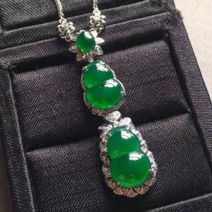 冰种满绿双葫芦翡翠吊坠