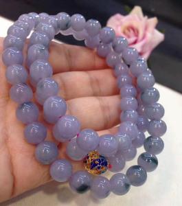 冰糯种紫罗兰翡翠项链