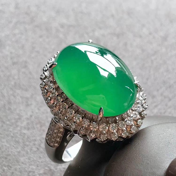 高冰种阳绿蛋面翡翠戒指、吊坠(两用)第6张