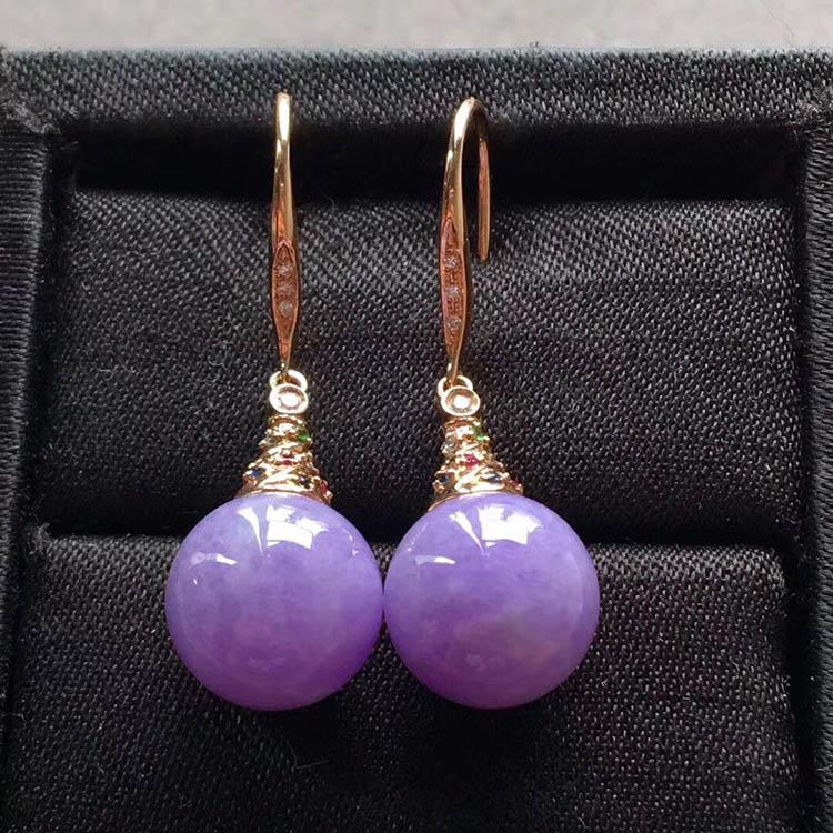 糯种紫罗兰珠珠翡翠耳坠
