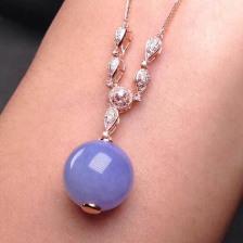 紫罗兰糯冰种翡翠珠子项链吊坠