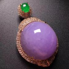 糯种紫罗兰蛋面翡翠吊坠