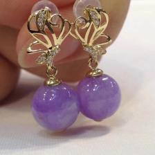 糯种紫罗兰圆珠翡翠耳钉