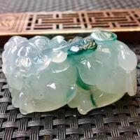 冰糯种飘花貔貅翡翠摆件