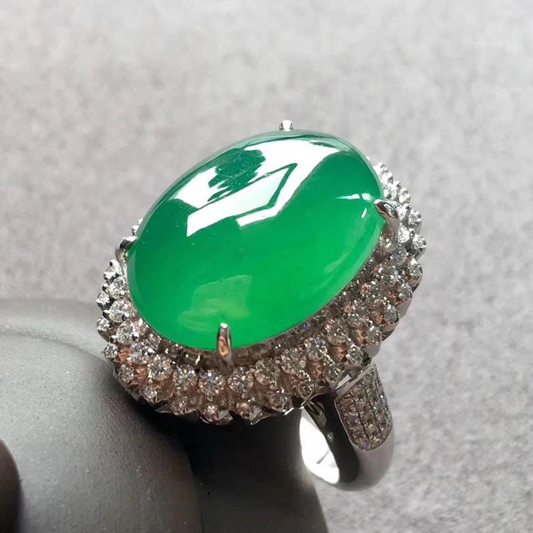 高冰种阳绿蛋面翡翠戒指、吊坠(两用)第3张