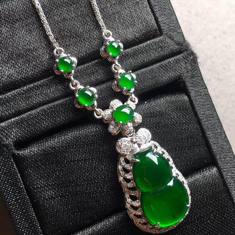 冰种帝王绿葫芦翡翠项链第2张