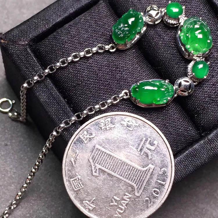 冰种阳绿貔貅翡翠手链第3张