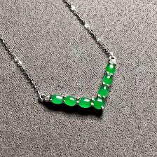 冰种阳绿蛋面翡翠项链