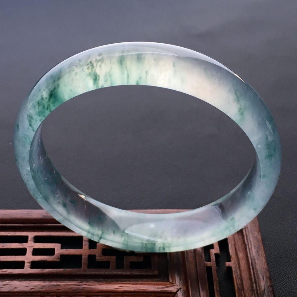 飄花玻璃種翡翠手鐲 58mm