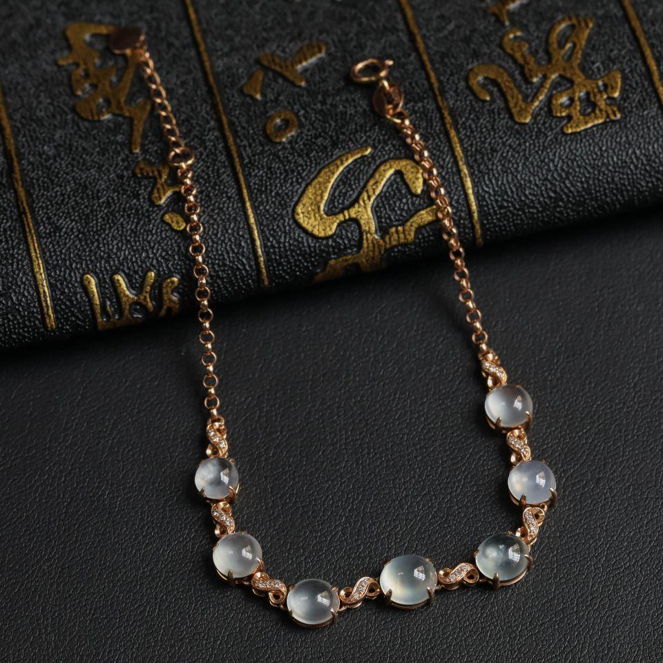 冰玻种无色翡翠手链镶18K玫瑰金钻石