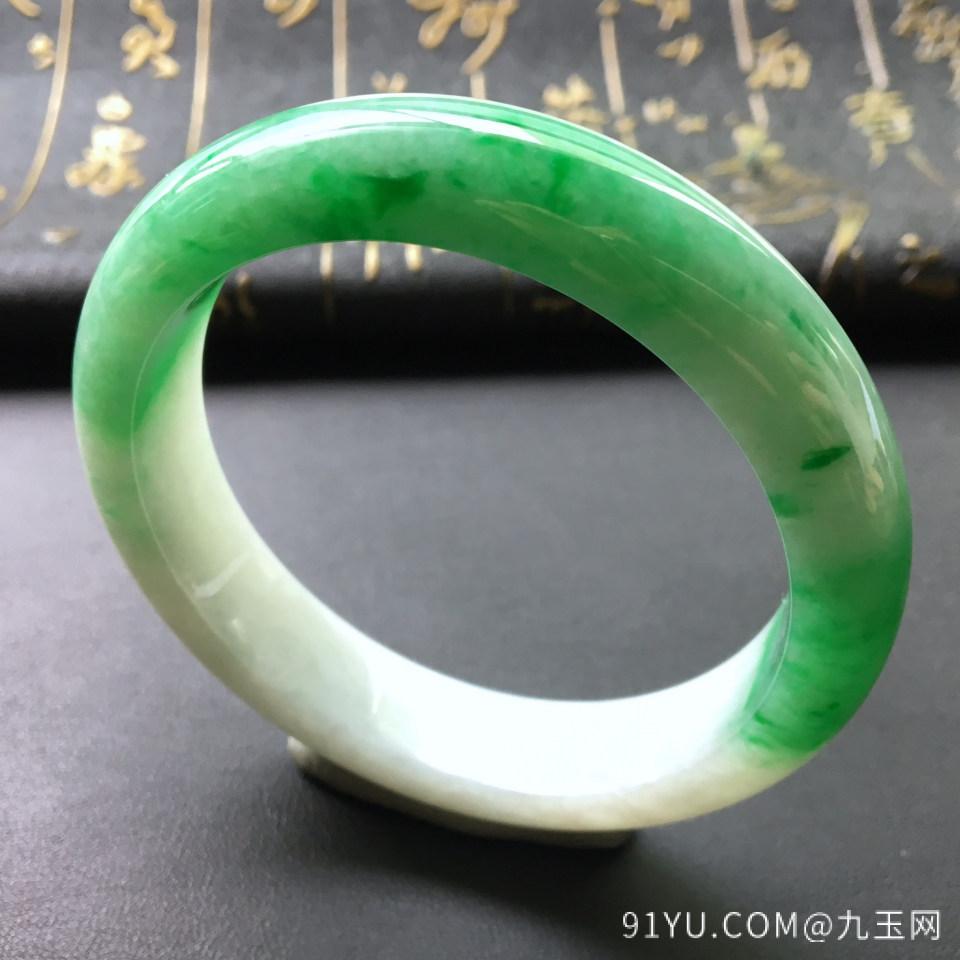 冰种飘绿翡翠手镯 第1张