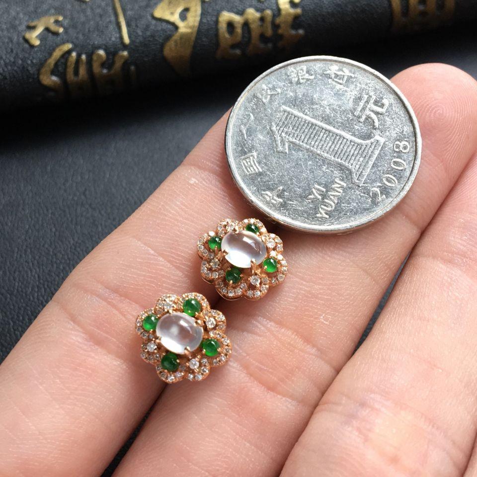 无色玻璃种翡翠耳钉 镶玫瑰金钻石第6张