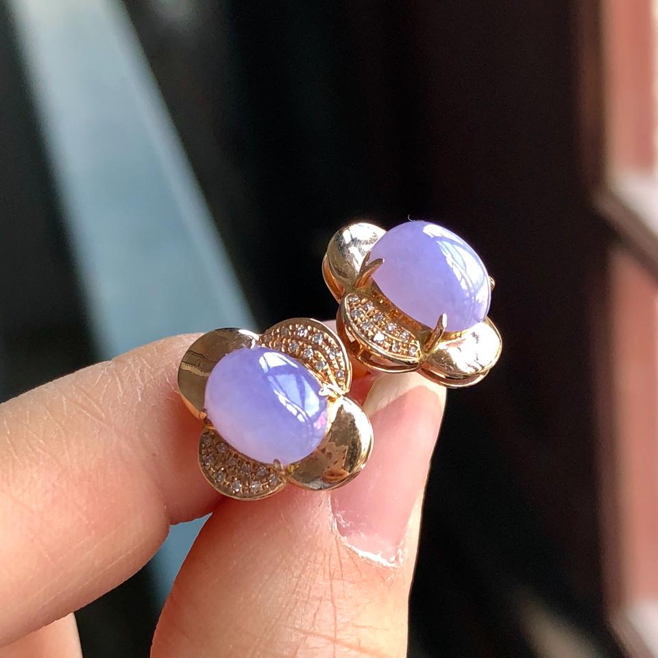 糯冰种紫罗兰翡翠耳钉 镶玫瑰金钻石第5张
