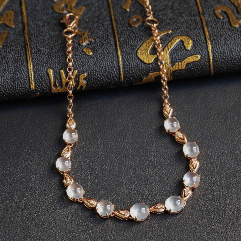 无色冰种翡翠手链 镶18K玫瑰金钻石