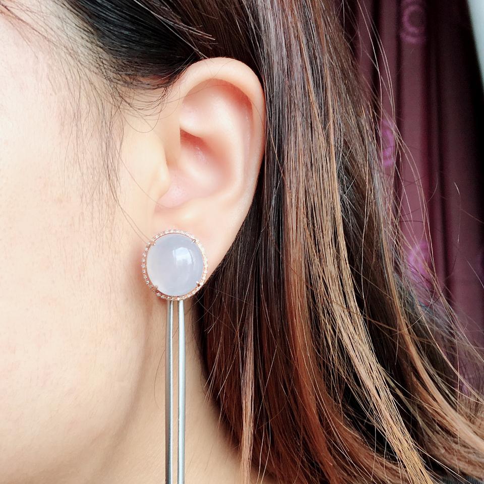 冰种淡紫罗兰翡翠耳钉一对 镶玫瑰金钻石第8张