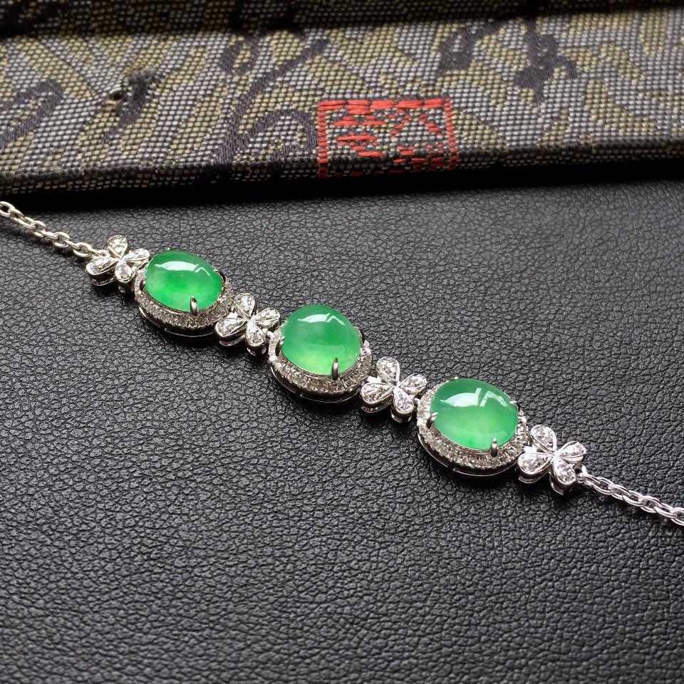 翠色冰种翡翠手链 镶白金钻石第6张