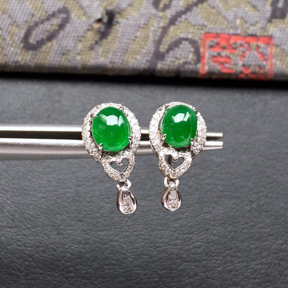 冰种阳绿翡翠耳钉一对 镶白金钻石第2张