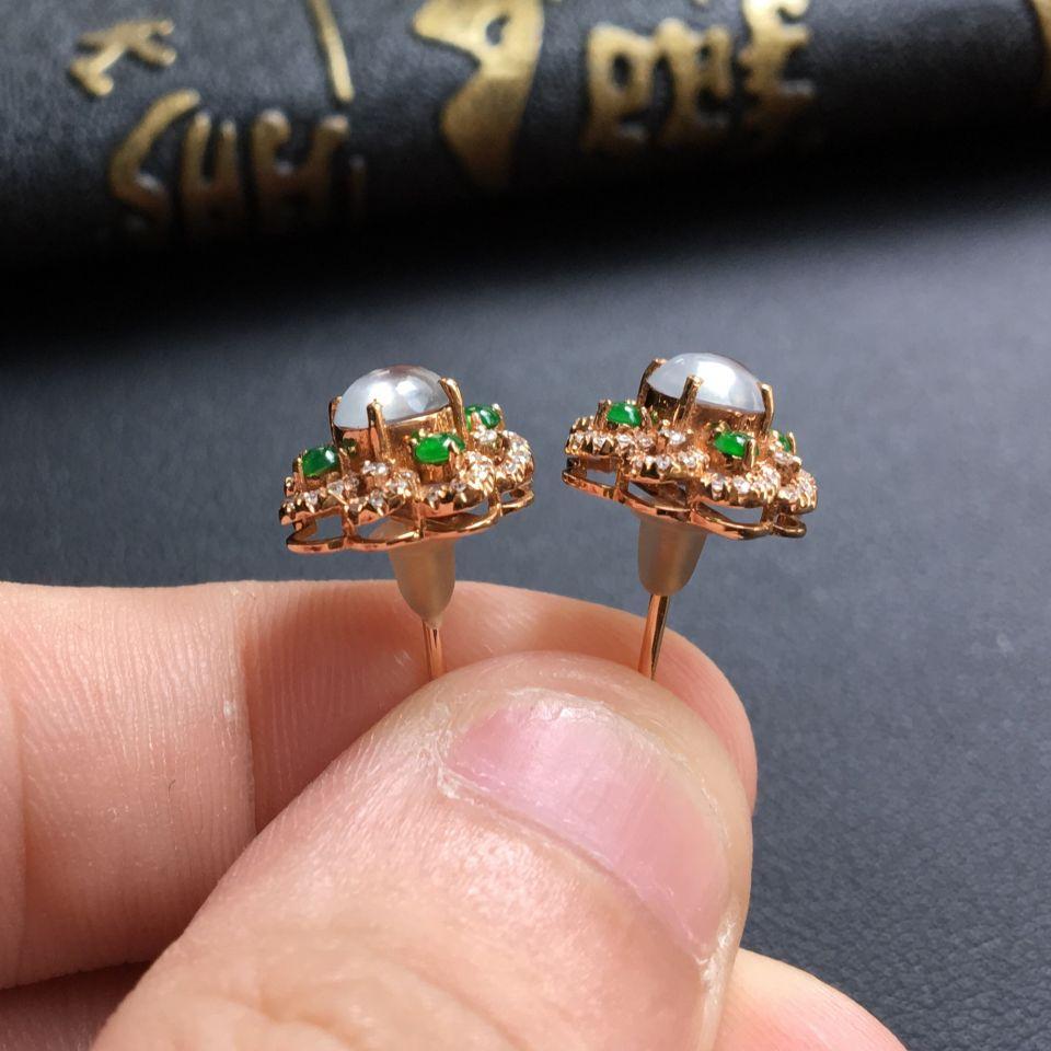 无色玻璃种翡翠耳钉 镶玫瑰金钻石第5张