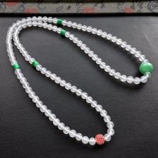 白色冰玻种圆珠翡翠项链/108颗佛珠