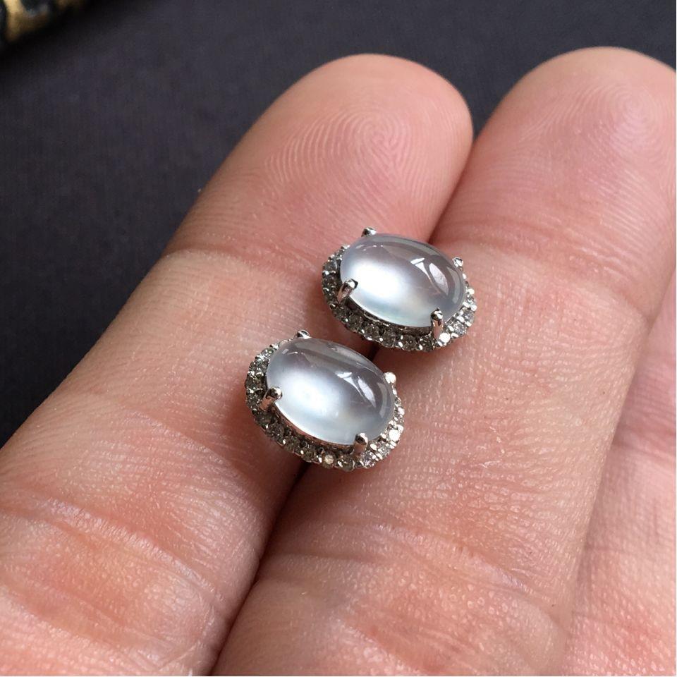 无色玻璃种耳钉 翡翠镶白金钻石