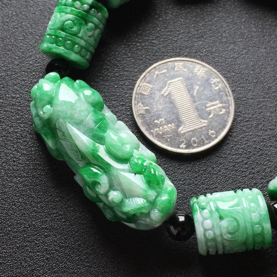 糯种浓绿貔貅翡翠手串