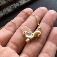 无色冰玻种翡翠项链 镶黄18k金钻石