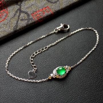冰玻种翠色翡翠手链镶白金钻石