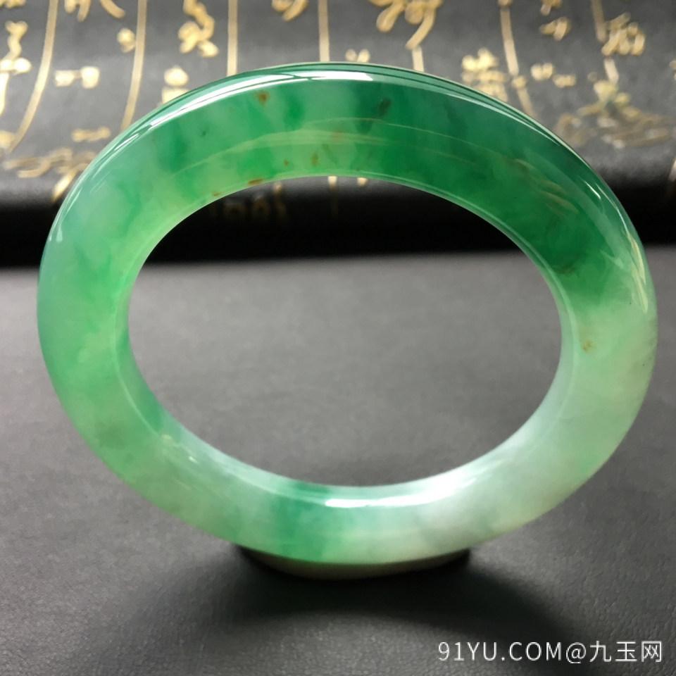 冰种飘绿翡翠手镯 (圆条)第2张