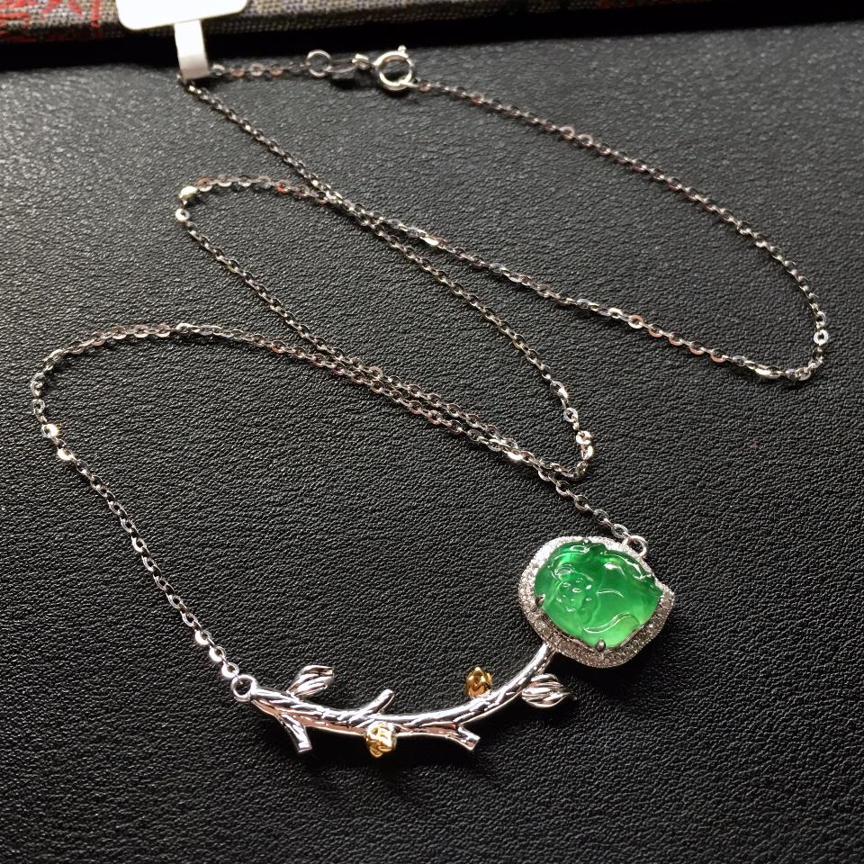 翠色花型冰种翡翠锁骨链镶白金钻石