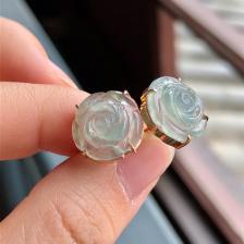 冰种晴水富贵花开翡翠耳钉 镶玫瑰金