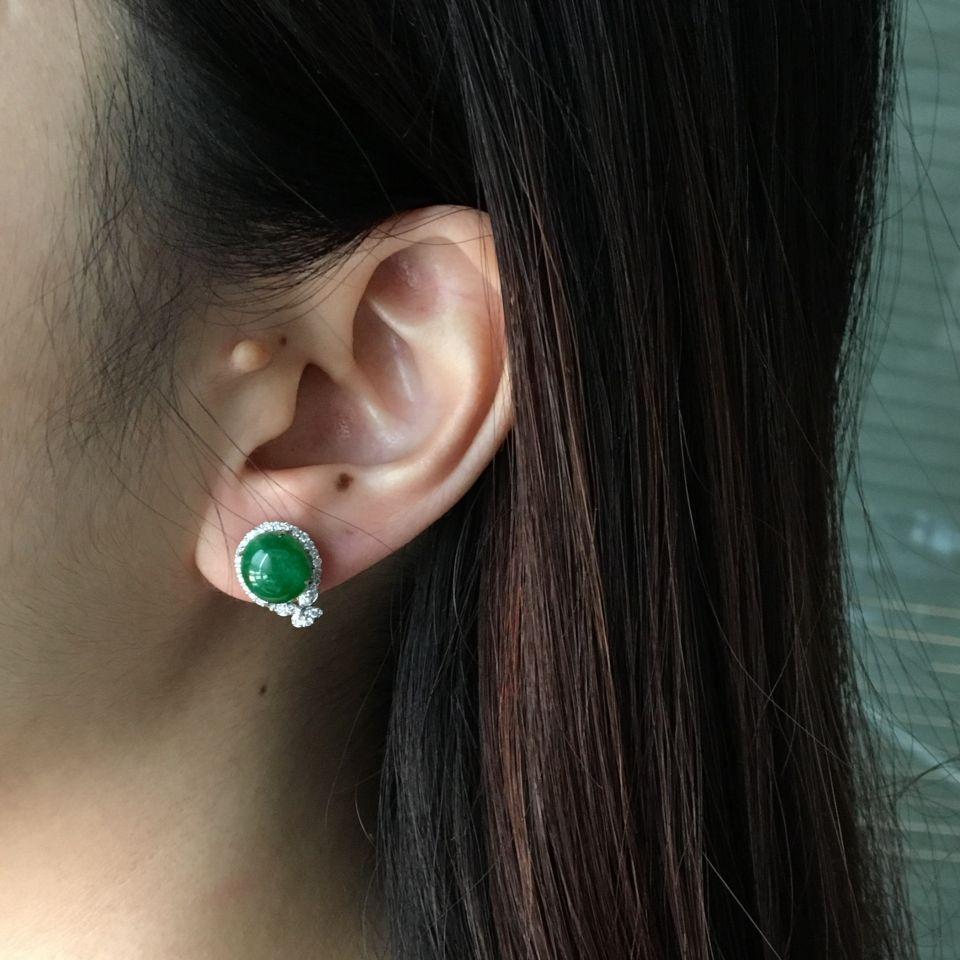 糯冰种深绿翡翠戒指/耳钉(一套) 镶白金钻石第9张