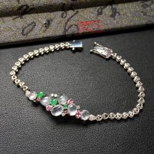 冰玻种无色/冰种翠色翡翠手链 镶白金钻石