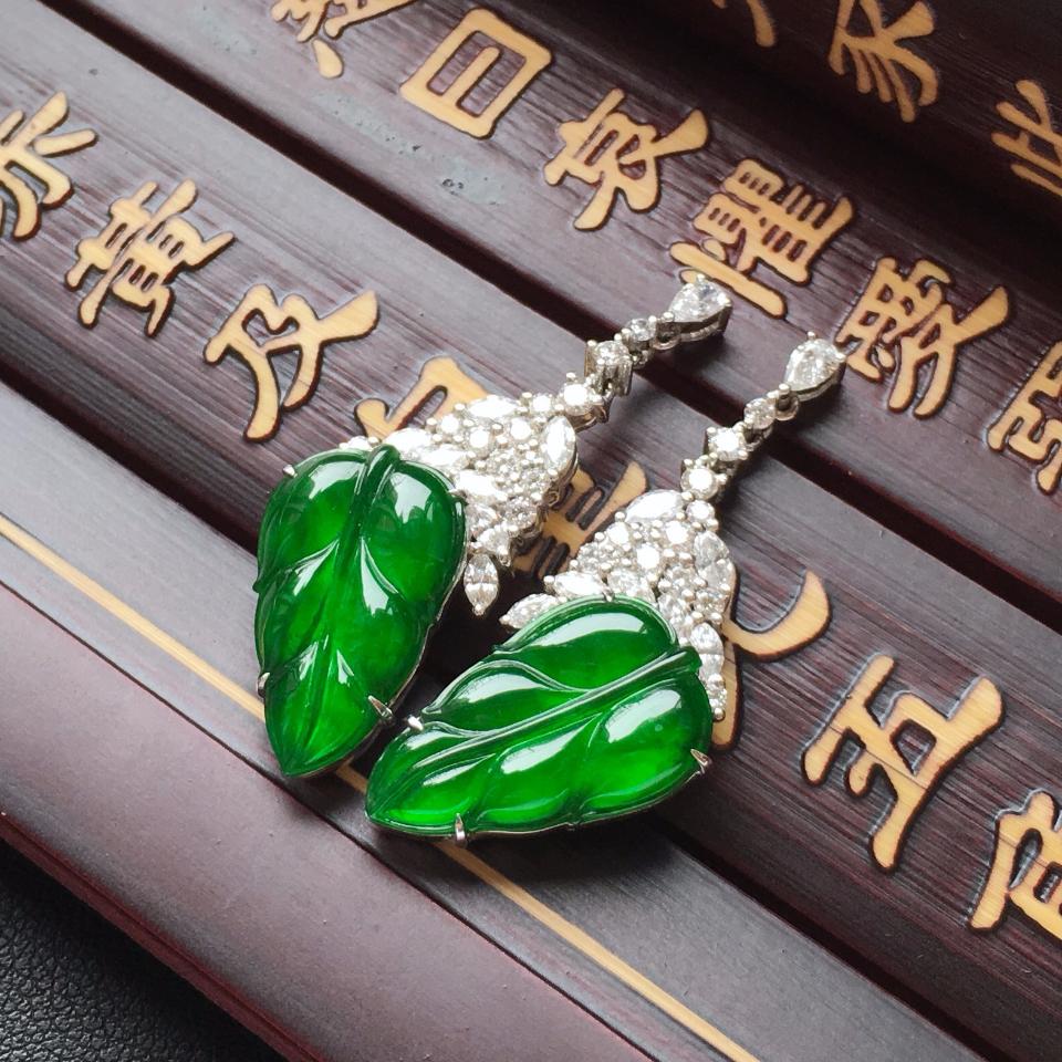 冰种阳绿金枝玉叶翡翠耳钉一对 镶白金钻石第3张