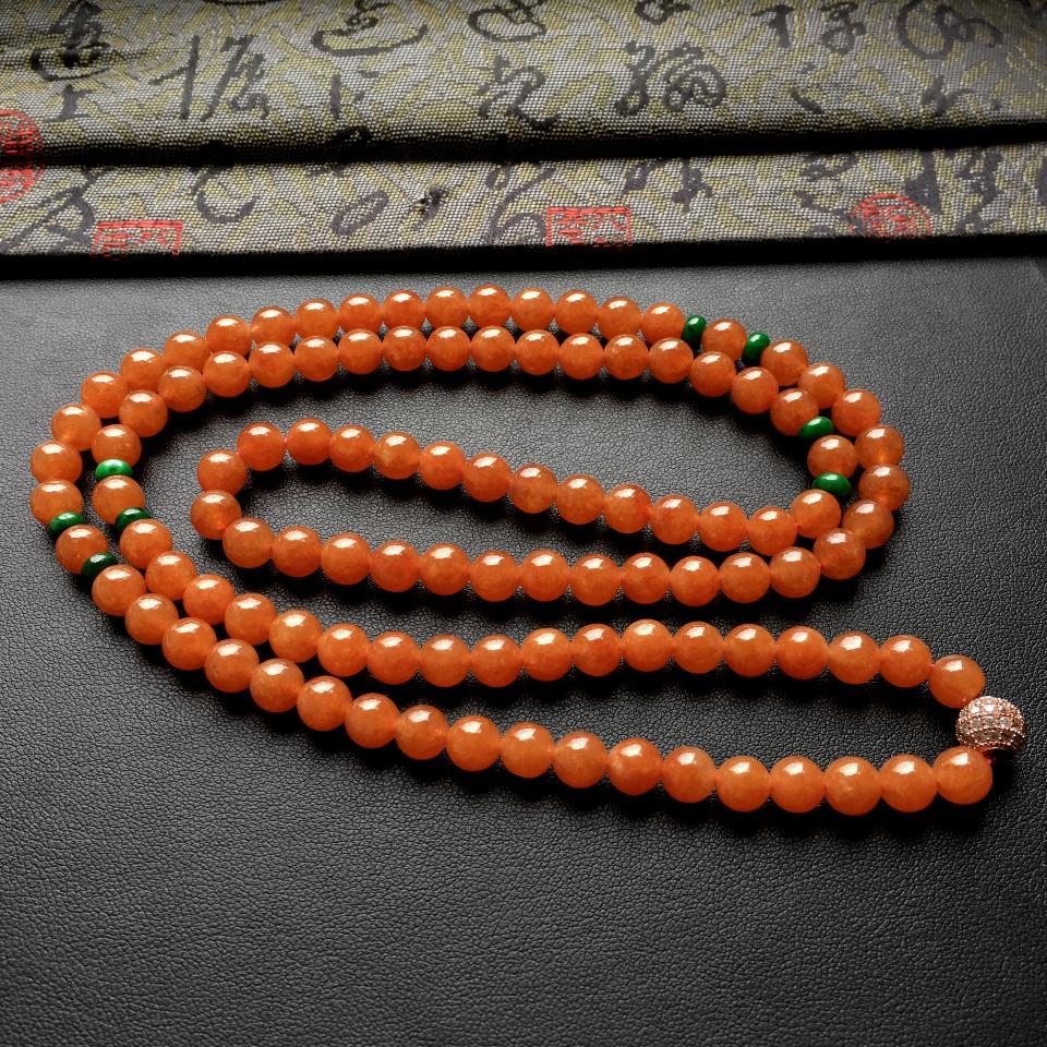 糯冰种红黄翡圆珠项链/108颗佛珠第6张