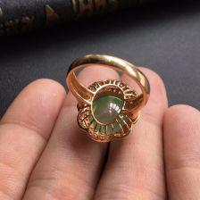 冰种晴水翡翠戒指镶玫瑰金钻石